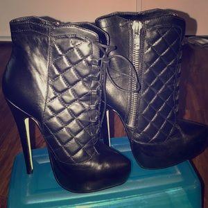 Black Yolanda BeBe booties. Size 6.5